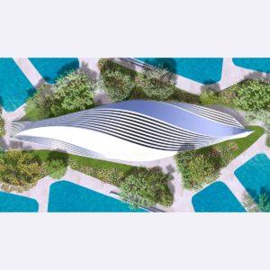Toit de parc aquatique: plusieurs points de vue pour un seul bâtiment
