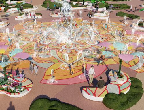 Fontaine Splash Pad, paysage et divertissement