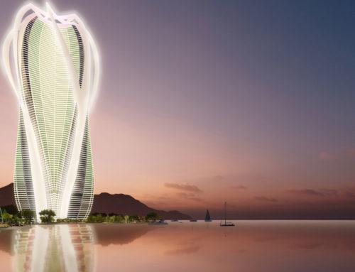 Un gratte-ciel durable à usage mixte au bord de la mer